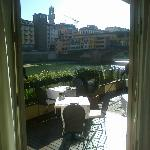 the terrace of the hotel where is located the bar