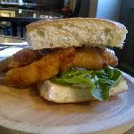 Young's beer battered haddock sandwich