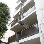 balconies facing hotel garden