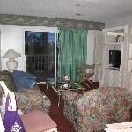 nice size living room, cozy, patio door to balcony