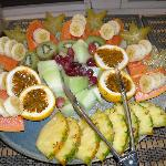 Petra's fruit sculpture for breakfast. Help yourself!!!