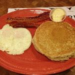 $2.99 breakfast. 2 eggs, 2 pancakes and 2 bacon. Yum!
