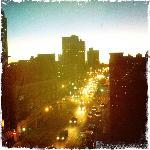 coucher de soleil sur Brooklyn bridge