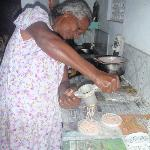 Ravi's mum making string hoppers
