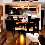 The living area/kitchen