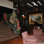 lobby Christmas tree and baby grand