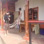front of hostel and taco shop next door