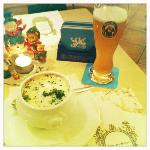 My yummy tomato soup with cream... and Christmas decorations