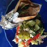 Traditional Gyro with small Greek Salad. Delicious!!