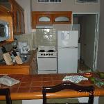 Full kitchen. Fridge full of left overs from meals at the resturants on site.  They wrap your pl