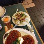 meat pierogi and a Gulasz & Kopytka (potato dumplings and beef stew)