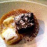 Sticky toffee pudding with vanilla ice cream