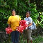 Staff brings fresh flowers to Jungle Bay