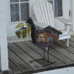 "Some of the ""quirky"" art. A bejeweled metal pelican"