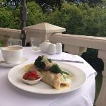 Amazing mushroom crepe on the terrace!