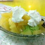 Pineapple boat. Similar to Banana boat, but with mango and melon ice cream topped with pineapple