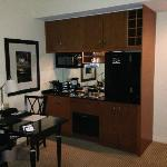 Kitchenette with 2-burner stove, dishwasher, microwave, fridge, washer/dryer