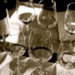 A flight of six wines, three white, three red