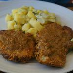 Gypsy schnitzel with potato salad
