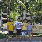 Along the Beach Sidewalk - Raul, Jessie, Jojo and myself