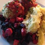 outstanding flavor...chicken meatballs, beets and butternut salad, spaghetti squash, prepared ju