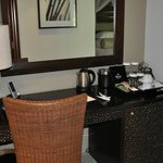 desk and beverage area