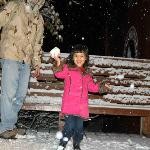 Throwing snowballs on the deck