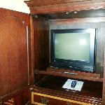 tv inside of cabinet