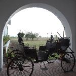 View from the porch with the ancient buggy
