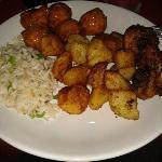polpettine, riso e patate al forno