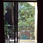 View of the balcony from bed