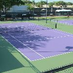 A view of one of the tennis courts