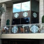 Starbucks just inside the lobby with great seating outside