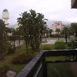 View from ground floor room to Luca Costa Lago Hotel, raining again