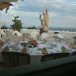 Table set for us looking out to sea
