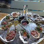 BP Oysters on the half shell with an array of sauces