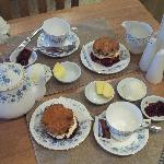 Cream tea, with homemade fruit scone, homemade preserve, butter and fresh cream!!