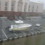 Someone parked their boat in the rear parking lot
