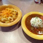 chicken and sausage gumbo & Mac and cheese