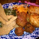 Catfish, greens, mac n cheeee, hush puppies, and corn muffins