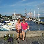 Two friends posed with the Pictou marina and Hector Quay in the background.