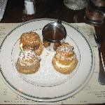 Profiteroles with bitter chocolate sauce