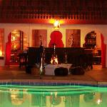 A view from the pool towards the Casbah Lounge at night!