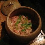 Today's special - steamed rice with crab in a stone pot
