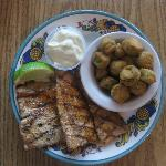 Grilled Dolphin and fried okra