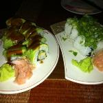 ebi roll (with avocado) and spicy tuna roll