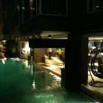 Noight view of the pool area