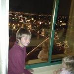 my son checking out the lights !