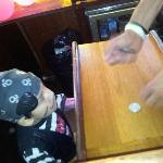 Captain cashing in on the gold coins found in treasure hunt
