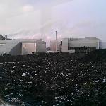 View of power station and lava fields